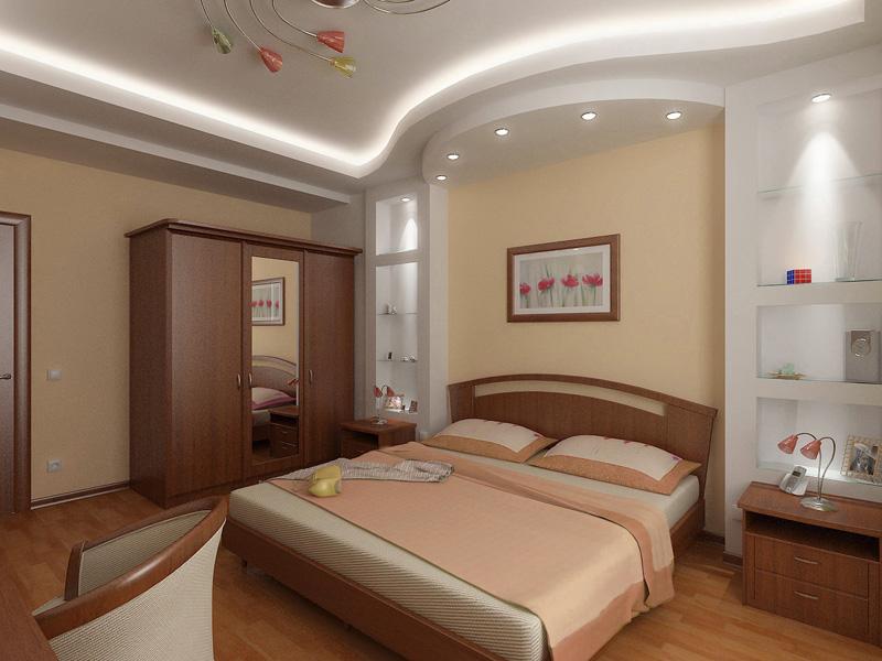 Потолок из гипсокартона своими руками в спальне фото
